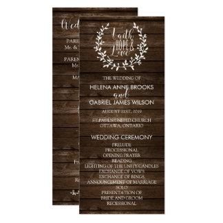 Programme rustique de cérémonie de mariage