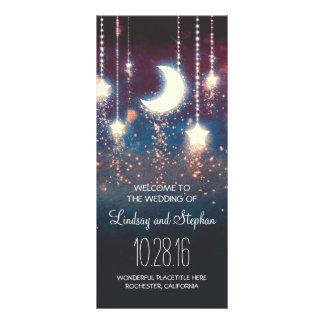 programme rustique de lune et de mariage d'étoiles double carte