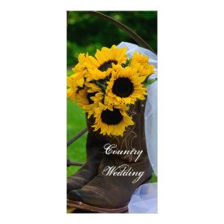 Programme rustique de mariage campagnard de bottes carte double customisable