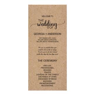 Programme rustique de mariage de calligraphie de modèle de double carte