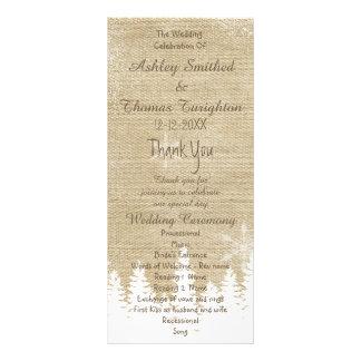Programme rustique de mariage d'hiver de flocon de cartes doubles customisables