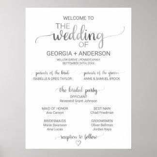 Programme simple de mariage de calligraphie posters