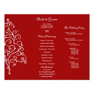 Programme triple de mariage de Noël d'hiver rouge Prospectus 21,6 Cm X 24,94 Cm