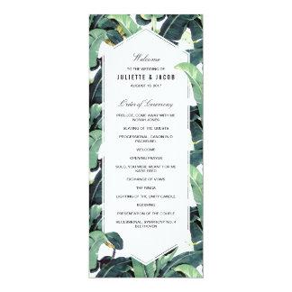 Programme tropical de cérémonie de mariage de carton d'invitation  10,16 cm x 23,49 cm