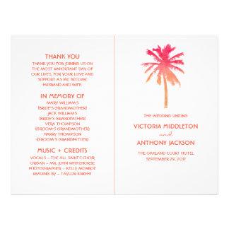 Programme tropical de mariage de plage de palmier prospectus 21,6 cm x 24,94 cm