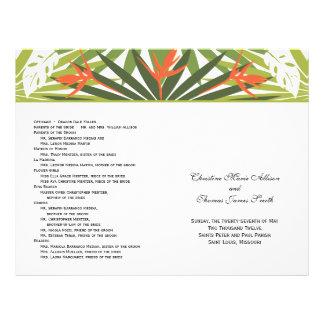 Programme tropical orange de mariage prospectus 21,6 cm x 24,94 cm