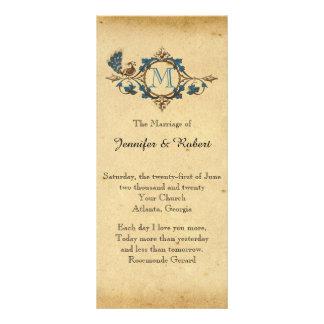 Programme vintage de mariage de monogramme de paon