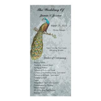 Programme vintage de mariage d'oiseau