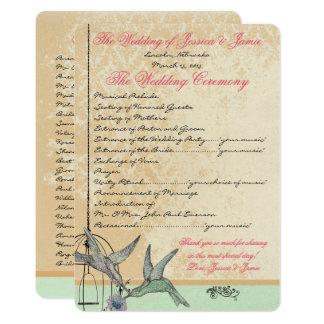 Programme vintage lunatique de mariage de cage à