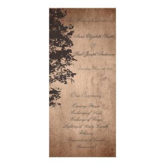 Programme vintage rustique de mariage double carte