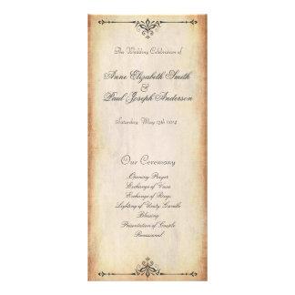 Programme vintage rustique de mariage modèle de double carte