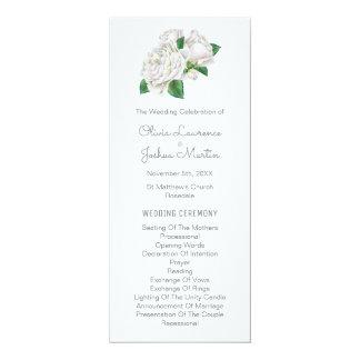 Programmes de mariage d'aquarelle de roses blancs