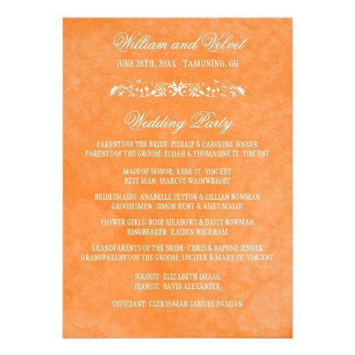 Programmes de mariage d'aquarelle bristols personnalisés