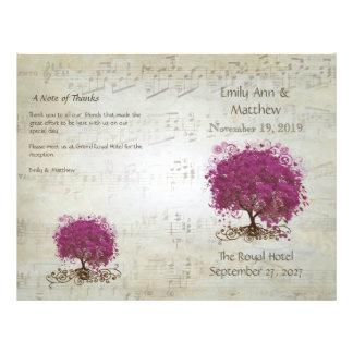 Programmes de mariage d'arbre de feuille de coeur prospectus 21,6 cm x 24,94 cm