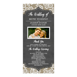 Programmes de mariage de dentelle de toile de jute double carte personnalisée
