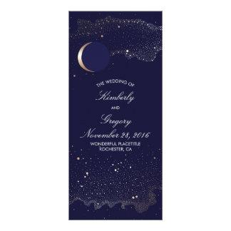 Programmes de mariage de marine de lune de nuit cartes doubles