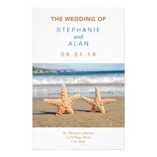 Programmes de mariage de plage de couples prospectus 14 cm x 21,6 cm