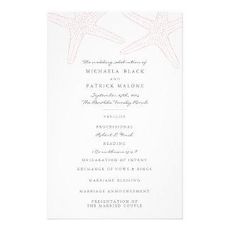Programmes de mariage d'étoiles de mer prospectus 14 cm x 21,6 cm