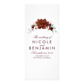 Programmes élégants floraux de mariage de modèle de double carte