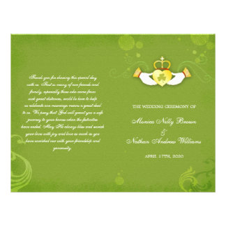 Programmes irlandais verts élégants de mariage de prospectus 21,6 cm x 24,94 cm