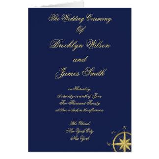 Programmes nautiques bleus de cérémonie de mariage carte de vœux