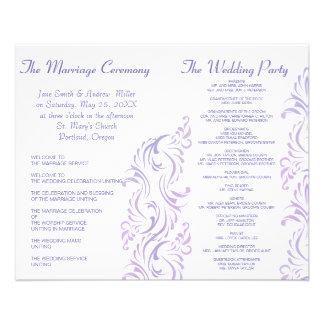 Programmes pourpres et blancs de mariage tract customisé