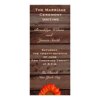 Programmes rustiques de mariage avec le tournesol