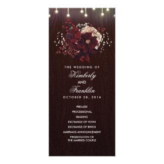 Programmes rustiques floraux de mariage de automne double cartes customisées