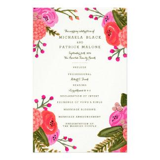 Programmes vintages de mariage de jardin prospectus 14 cm x 21,6 cm