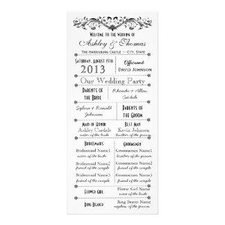 Programmes vintages de mariage de style de typogra modèle de double carte