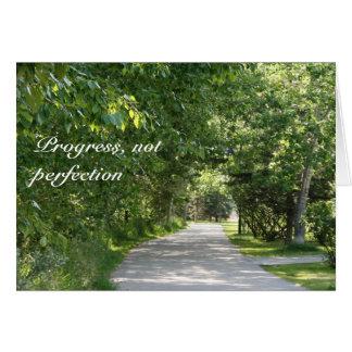 Progrès, pas perfection - carte de voeux de slogan
