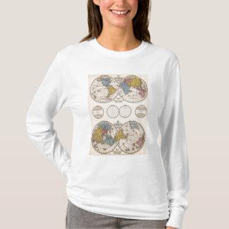 Projection équatoriale du monde et projection t-shirt