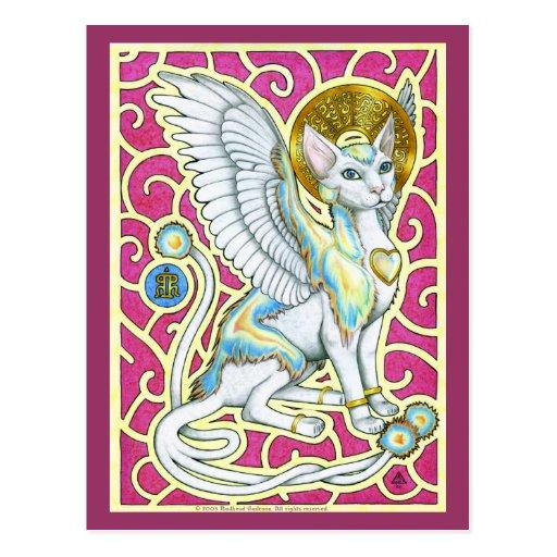 Promenade d'anges sur la carte postale de quatre p