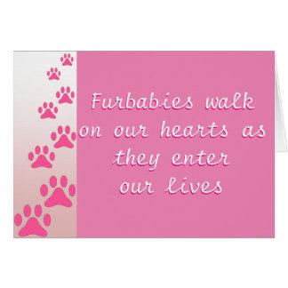 Promenade de Furbabies sur nos coeurs - carte rose