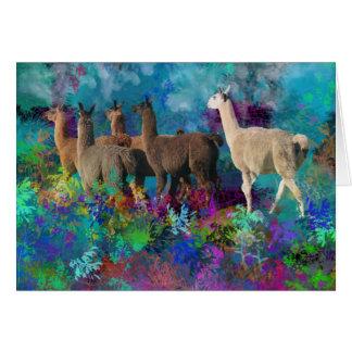 Promenade du lama cinq dans la terre d'imaginaire cartes de vœux