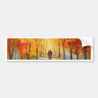 Promenade en parc d'automne autocollant pour voiture