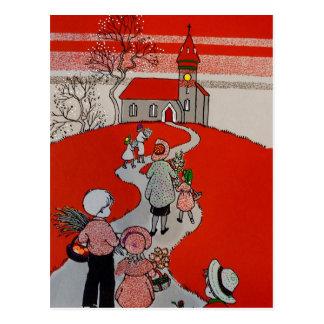 Promenade vintage à l'église cartes postales