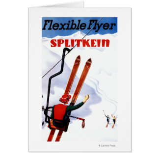 Promo en bois de skis de Splitkein d'insecte Carte De Vœux