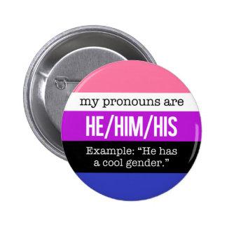 Pronoms de He/Him - drapeau de Genderfluid Badge