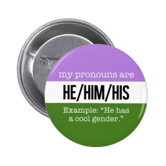 Pronoms de He/Him - drapeau de Genderqueer Badge