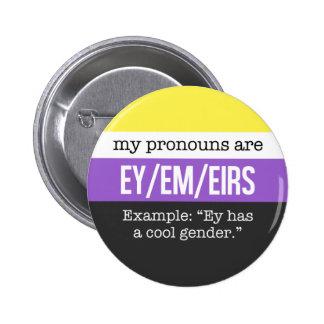 Pronoms d'Ey/Em - drapeau de Nonbinary Badge