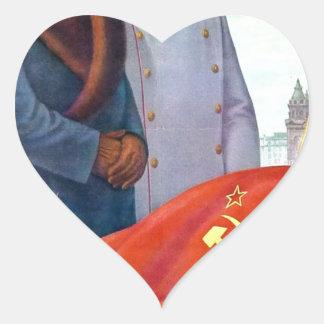 Propagande originale Mao Zedong et Joseph Staline Sticker Cœur