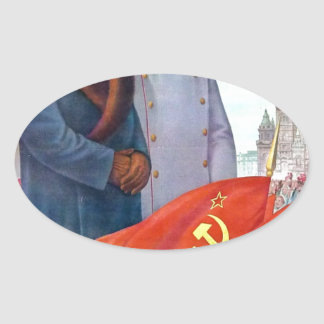 Propagande originale Mao Zedong et Joseph Staline Sticker Ovale