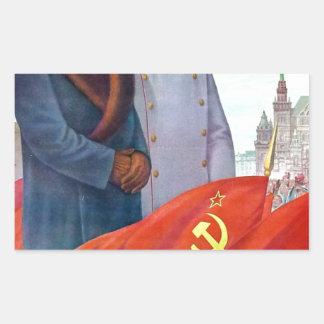 Propagande originale Mao Zedong et Joseph Staline Sticker Rectangulaire