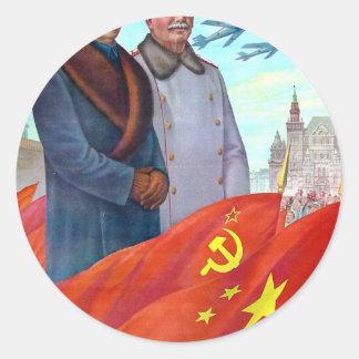 Propagande originale Mao Zedong et Joseph Staline Sticker Rond