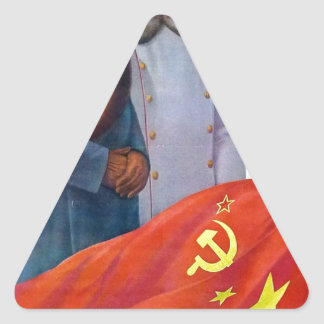 Propagande originale Mao Zedong et Joseph Staline Sticker Triangulaire