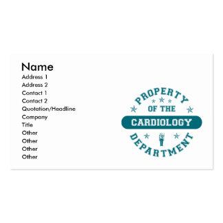 Propriété du service de cardiologie modèle de carte de visite