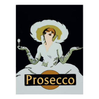 Prosecco, Madame vintage de style, signe Posters