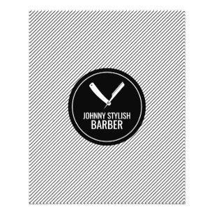 Prospectus 11,4 Cm X 14,2 Cm Barber shop cercle et bande noire