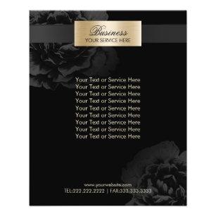 Prospectus 11,4 Cm X 14,2 Cm Brochures florales noires de salon de beauté de